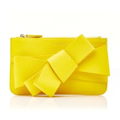DELPOZO M'O Exclusive Grainy Calf Bow Clutch (€545) ❤ liked on Polyvore featuring bags, handbags, clutches, purses, yellow, hand bags, yellow handbags, yellow leather handbags, genuine leather handbags and handbags clutches