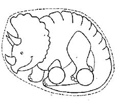 """Two Finger Puppet Craft; Here is your first """"Triceratops"""" to play with. Go back to time of the Dinosaurs with these  variation of Dinosaurs as two finger puppets. Color, Cut out, make the two holes for your fingers and walk and tell a story...✂...make the other ones too"""