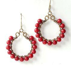 Red beaded earrings  Valentine red coral hoops gold by dalystudios, $16.00