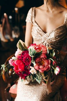 Gold wedding dress designed by the bride & stunning bouquet! Photo by Christine Lim Photography 100 layer cake Wedding Bouquets, Wedding Flowers, Wedding Dresses, Red Wedding, Wedding Day, Wedding Story, Sequin Wedding, Glamorous Wedding, Wedding Pics