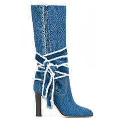 Philosophy Di Lorenzo Serafini denim boots ($780) ❤ liked on Polyvore featuring shoes, boots, denim, blue, denim shoes, denim footwear, denim boots, blue denim shoes and blue boots