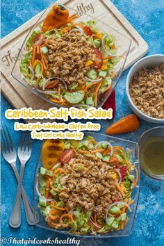 This delicious Caribbean inspired salt fish salad is perfect for promoting weight loss or to simply cleanse your palate. It's low carb yet still tasty and flavoursome so don't be fooled. Shredded lettuce, cucumber, onions, carrots, tomatoes, peppers and avocado (pear) are tossed with some sautéed salt fish. Dairy Free Recipes, Low Carb Recipes, Avocado Pear, Best Lunch Recipes, Still Tasty, Fish Salad, Salad Bowls, Tossed, Healthy Cooking