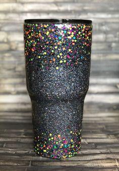Neon Confetti and gunmetal Chunky Ombre Glitter Tumbler, - Epoxy Diy Tumblers, Personalized Tumblers, Custom Tumblers, Glitter Tumblers, Loose Glitter, Glitter Cups, Gold Glitter, Tumblr Cup, Kids Tumbler