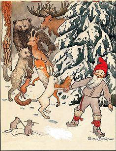 Vintage Christmas Card by Elsa Beskow ~ Gnome & Woodland Pals ~ Orange Accents Elsa Beskow, Swedish Christmas, Scandinavian Christmas, Christmas Art, Vintage Christmas, Art And Illustration, Christmas Illustration, Artists For Kids, Theme Noel