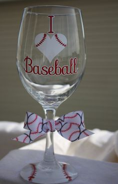 I Love Baseball Extra Large Wine Glass by TheVinylChick on Etsy, $12.00