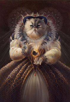 "Philadelphia-based artist Christina Hess created this quirky series of animals imagined as historical figures.  ""I didn't want to be that illustrator that painted animals in clothes. But after I completed Queen Elhissabeth for a family friend I realized that I could have fun with this idea. A lot of fun. Using numerous pets and celebrity animals from charities like Big Cat Rescue for inspiration I started recreating historical icons as animals. Some paintings are created traditionally in..."