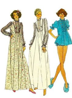 Simplicity 7237 1970s Misses  Long Nightgown or Baby Doll Pajamas Shortie or Granny Gown womens vintage lingerie sewing pattern by mbchills