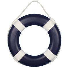 Red Blue Green or Pink 15 W White Straps Life Ring Preserver Nautical... found on Polyvore featuring home, home decor, wall art, blue, nautical, filler, home & living, home décor, nautical home decor and nautical theme home decor
