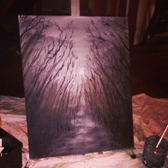 Moonlit Path Oil Painting Black and White by smARTartBYMcSwish