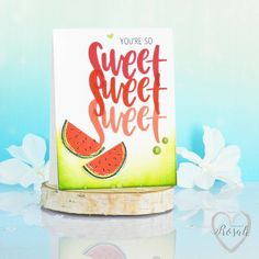 """And my second card with @concordand9th' """"Orange You Sweet"""" set! Of course I had to also use the melons!!  Aren't we all addicted to melons since @pepitahasenkeks brought the #melonentierchen challenge into our lives?!  #melonizeallthethings #concordand9th #orangeyousweet #guestdesigner #c9featurefriday #youresosweet #clearstamps #shadesofpink #repeatedstamping #distressinks #inkblending #kartenbasteln #craftersofinstagram  #stamping #inkpads #stampinup #carddesign #handmadecard #m..."""