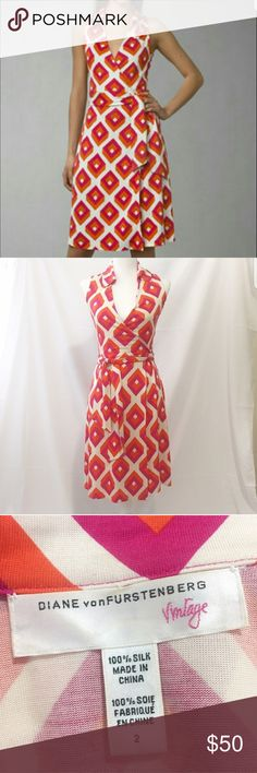 Classic DVF wrap dress Legendary, 70s inspired wrap sleeveless dress with bright hot pink and orange geometric pattern. Great condition, great DvF quality !!! Diane Von Furstenberg Dresses Midi
