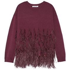 Elizabeth and James Feather-trimmed cotton-blend sweater (£395) ❤ liked on Polyvore featuring tops, sweaters, majice, pull, burgundy, textured sweater, elizabeth and james, feather top, burgundy sweater and feather sweater