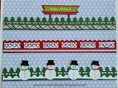 Scrappin' Jpegs: Let it Snow, Let It Snow, Let It Snow with flurries of FUN Christmas Borders made with Creative Memories products  Use your  Evergreen  Border Maker cartridge and punch out one strip of trees. From the Christmas of Joy paper pack I cut out a thin strip to mount under the trees.
