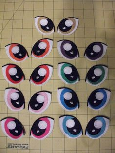 This design is of 2 eyes done in MLP:FiM style, and made for sewing onto a plush, or anything that needs some MLP:FiM eyes. The size of each eye is 2