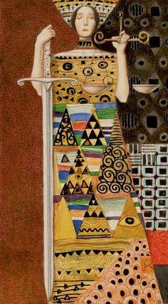 Tarot de Klimt par A. Atanassov la justice