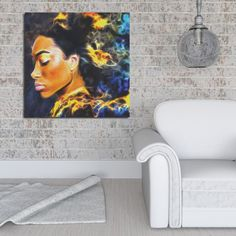 """Our gallery wrapped canvases are printed on archival quality canvas fabric and are protected to resist water and fading. We offer three sizes 12x12, 16x16, and 32x32. The canvas is wrapped around a 1.5"""" stretcher bar and has a saw-tooth hanger for easy installation. Select your favorite art, or accent patterns to bring walls in your home to life. #blackart #canvas #dopeblackart #melaninart #homedecor #artwork #wallart #artprint #design #art4sofy"""