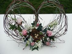 Twig and Chicken Wire Heart Flower Arrangement