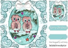 cute pair of owls on a branch with snow & bow (turq) 8x8 with topper,makes a cute card, can be seen in other colours