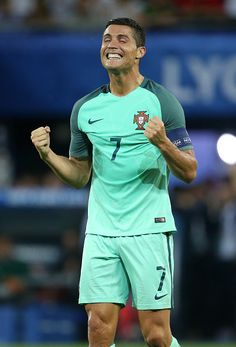 #EURO2016 Cristiano Ronaldo of Portugal celebrates the victory following the UEFA Euro 2016 semifinal between Wales and Portugal at Parc OL Stade des Lumieres...
