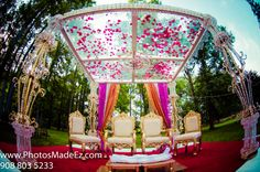 Indian Wedding in New Jersey. Mandap by Sajawat Decorator.