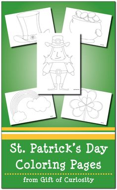 Free St. Patrick's Day coloring pages with five different images.