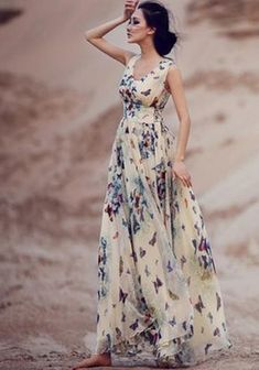Beige Butterfly Print Sleeveless Bohemian Chiffon Maxi Dress
