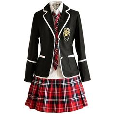 Nuotuo Womens British Style High School Uniform Sets ($26) ❤ liked on Polyvore featuring costumes, dresses, outfits, uniform, cosplay, womens costumes, cosplay costumes, ladies costumes, womens halloween costumes and lady costumes