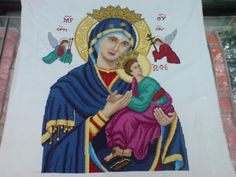"""Cross Stitch title: Mother of Perpetual Help 10 cts; white Aida cloth sequins and beads added 25"""" x 19 1/2""""  #CrossStitch #Craft #forsale"""