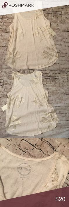NWT Lucky Brand Cream and Gold Tank Large NWT Lucky Brand Tank in Large. Gold flower motif, super cute! Lucky Brand Tops Tank Tops
