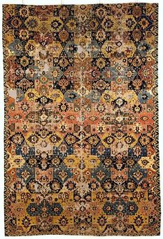 17th century Iran, probably Kirman or Isfahan Cotton (warp), silk (weft), wool (weft and pile); asymmetrically knotted pile Dimensions: Rug: L. 189 in. (480.1 cm) W. 127 in. (322.6 cm) Tube: L. 140 in. (355.6 cm) Diam. 20 in. (50.8 cm) Wt. 75 lbs. (34 kg)