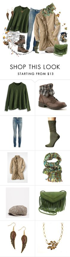 """Quilted Coat ~ Autumn Style"" by pwhiteaurora ❤ liked on Polyvore featuring Chicwish, b.o.c. Børn Concept, SELECTED, Smartwool, Lands' End and Stetson"