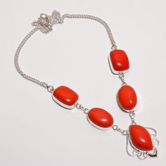 Red Quartz Silver Plated Statement 17 Inch Necklace New #Unbranded #Statement