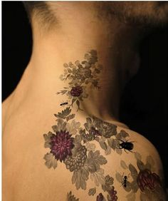 50 Insanely Gorgeous Nature Tattoos - Love the black and white with a little injection of colour!