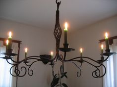 Hand Crafted Forged Iron Candle Chandelier by Mystic Metallurgy | CustomMade.com