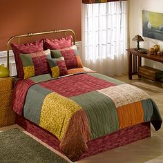Decorate your bedroom with the Southwest collection, featuring a stunning blend of earthy colors and patchwork design. The coordinating bed skirt will add the perfect finishing touch to the Southwest Square quilt. Bedroom Sets, Bedroom Decor, Donna Sharp Quilts, Southwest Quilts, Quilt Bedding, Twin Quilt, European Pillows, Patchwork Quilt Patterns, Velvet Quilt