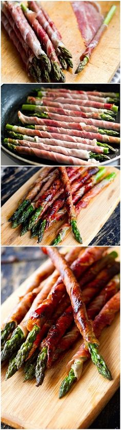 Prosciutto-wrapped Asparagus. yum!  Serve with Balsamic reduction: Combine 1/3 cup balsamic vinegar, 2 tablespoons honey, 1/4 teaspoon salt ,1/8 teaspoon freshly ground black pepper. Bring to a boil, reduce heat, simmer until reduced to 1/4 c (≃ 8 min), cool.