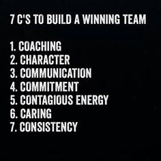 Building a winning team is made up of these 7 C's. You will notice that coaching is right at the top. Do you embrace coaching as part of building a winning team? How do you apply this? Does your organisation make use of internal or external coaches? Leadership Tips, Leadership Development, Quotes About Leadership, Educational Leadership Quotes, Leadership Assessment, Nursing Leadership, Student Leadership, Leadership Qualities, Learning Quotes