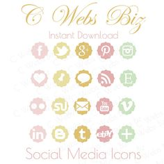 Summer Social Media Icons Tag Blog Buttons  20 Piece by CWebsBiz, $2.99 Social Media Buttons, Social Media Icons, Blogger Templates, Boutique, Tags, Giveaway, Free, Etsy, Summer
