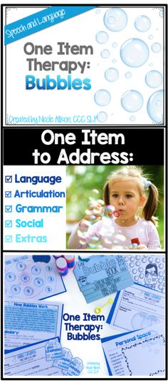 Speech therapy activities using only bubbles for school age kids and preschoolers!