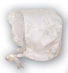 Sophia's matching heirloom christening bonnet