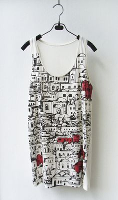 Townscape - Sleeveless Tank Top Mini Dress in CREAM