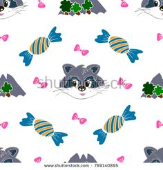 Kids, Cartoon seamless pattern. Original color drawings. Skarpbuking. Textiles, cartoon background. Mountains, trees, bows, candy, raccoon #bubushonok #art #bubushonokart #design #vector #shutterstock #pattern #fabric #seamless #doodle #ornament