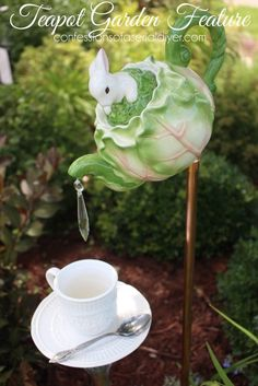 How to Make this Whimsical Teapot Garden Feature #bird #feeder #decorative #saucer #cabbage #head #crystal #drop #pendant #DuckyMee