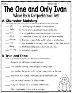 The One and Only Ivan Test: Final Book Quiz with Answer Key 3rd Grade Books, 4th Grade Reading, Grade 3, Third Grade, Guided Reading Groups, Reading Strategies, Reading Comprehension, Text Feature Anchor Chart, Quiz With Answers