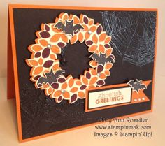 Stampin' Up! ... handmade card in Halloween Colors from StampinMak ... Wondrous wreath in oranges with bats ... luv the look of clear embossed spiderweb on black ... great card!