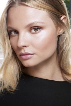 barely there: light foundation, highlight cheekbones, soft neutral eye shadow, nude lipstick