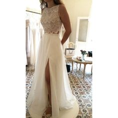 2019 New Arrival Scoop Wedding Dresses A Line With Slit Chiffon & Lace VEPFA5BTBK