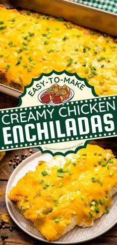 These Creamy Chicken Enchiladas are amazing! This delicious recipe for dinner starts with soft flour tortillas filled with chicken and cream cheese mixture. This chicken idea is the best comfort food… Mexican Food Recipes, Soup Recipes, Healthy Recipes, Yummy Recipes, Easy Chicken Dinner Recipes, Baked Chicken Recipes, Creamy Chicken Enchiladas, Slow Cooker Chicken, Nutritious Meals