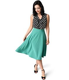 Unique Vintage Retro Style Green High Waist Vivien Swing Skirt ** You can get additional details at the image link.(This is an Amazon affiliate link and I receive a commission for the sales)