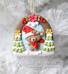 Handcrafted Polymer Clay Winter Bear Scene Ornament by Kay Miller. Polymer Clay Ornaments, Cute Polymer Clay, Cute Clay, Fimo Clay, Polymer Clay Projects, Polymer Clay Creations, Christmas Crafts, Christmas Ornaments, Christmas Trees